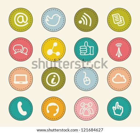communication signs over beige background. vector - stock vector