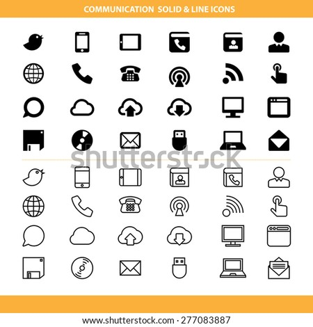 Communication solid and line icons set .Illustration eps10 - stock vector
