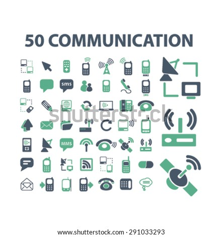 communication, technology, connection isolated icons, signs, illustrations on white background for website, internet, mobile application, vector - stock vector