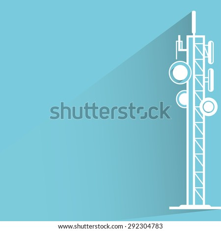 communication tower and antennas in blue background, shadow and flat theme - stock vector