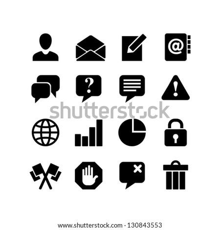 Communication. Web icon set - stock vector
