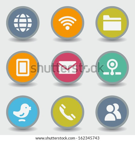 Communication web icons, color circle buttons - stock vector