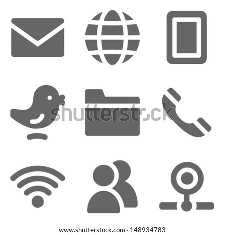 Communication web icons, grey solid series - stock vector