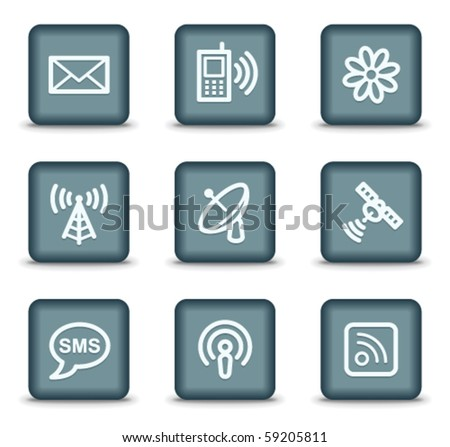 Communication web icons, grey square buttons - stock vector