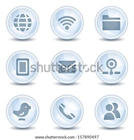 Communication web icons, light blue glossy circle  buttons - stock vector
