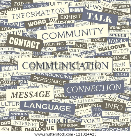 COMMUNICATION. Word collage. Vector seamless illustration. - stock vector