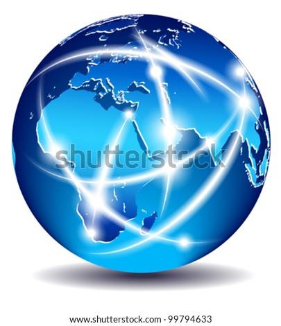 Communication World, Global Commerce, data - Europe, Middle East, Africa, India - EPS 10 - stock vector