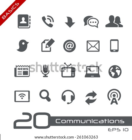 Communications Icon Set // Basics - stock vector