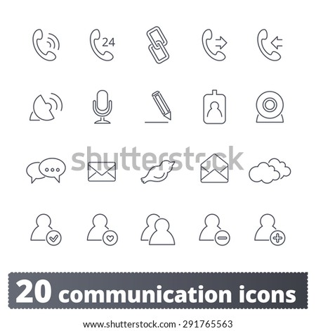 Communications icons: vector set. Business and social thin line signs. Outline series. - stock vector