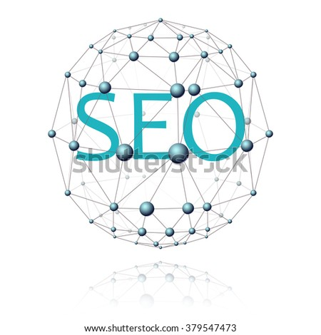 communications sector in the form of a sphere with an inscription seo, on a white background - stock vector