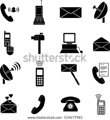 communications symbols set - stock vector