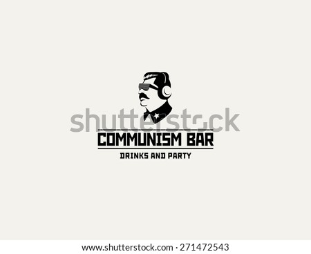 Communism style logo restaurant bar design vector template. Soviet dictator head icon silhouette concept for night club party. - stock vector