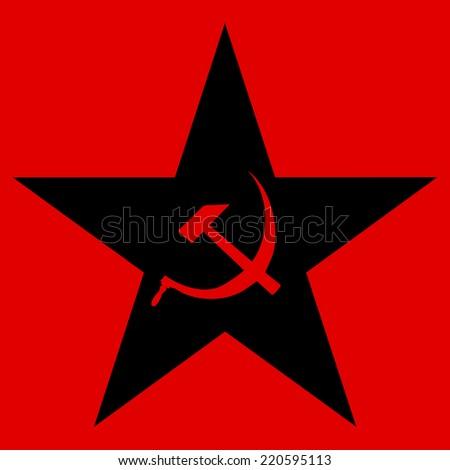 Communist star on red background. - stock vector