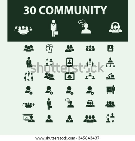 community, human resources, management icons, signs vector concept set for infographics, mobile, website, application  - stock vector
