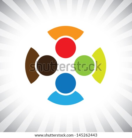 community of buddies, pals & friends get-together- vector graphic. This illustration can also represent children playing,kids having fun,employee meeting,workers unity & diversity, people community - stock vector