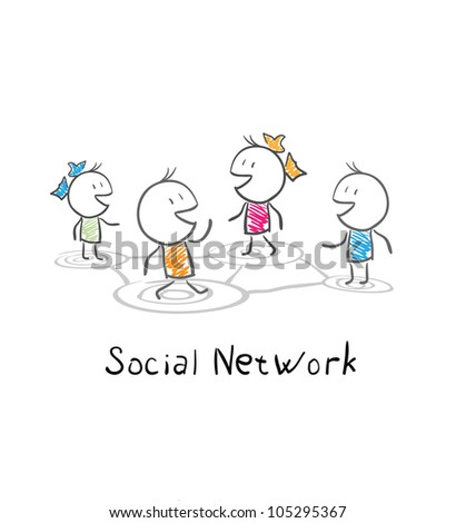 Community people. Conceptual illustration of the social network - stock vector