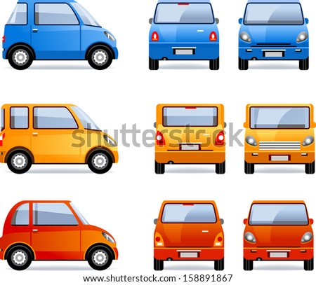 Compact Car (set #64). Pixel optimized. Elements are in the separate layers.  In the side, back and front views. - stock vector