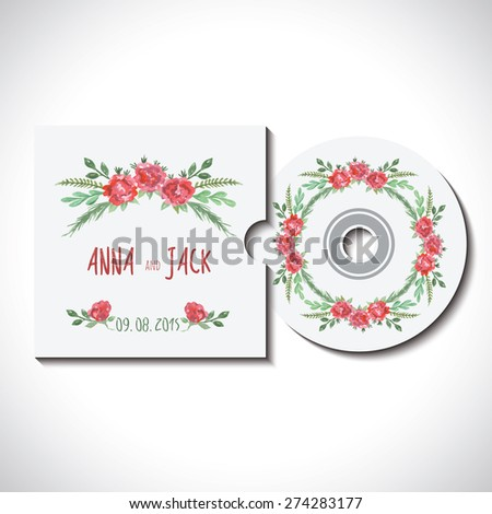 Compact cd dvd disk with cover, identity template with watercolor pink, red, green flowers for wedding, save the date, mothers day, valentines day, birthday white background Vector illustration eps 10 - stock vector