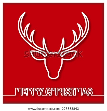 Compact design for cards, icons, stickers with deer end Merry Christmas - stock vector