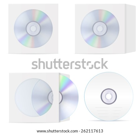 Compact disc set: cd and  blank compact disc envelope with window. Vector Illustration isolated on white background. - stock vector