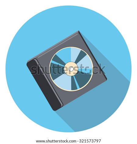 compact disk flat icon in circle - stock vector