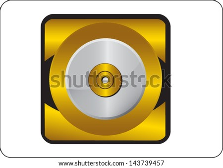 compact disk golden square web icon on white background - stock vector