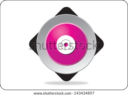 compact disk pink web icon on white background - stock vector