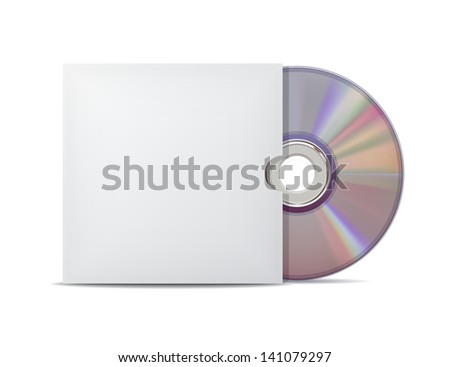 Compact disk with cover. Vector illustration - stock vector