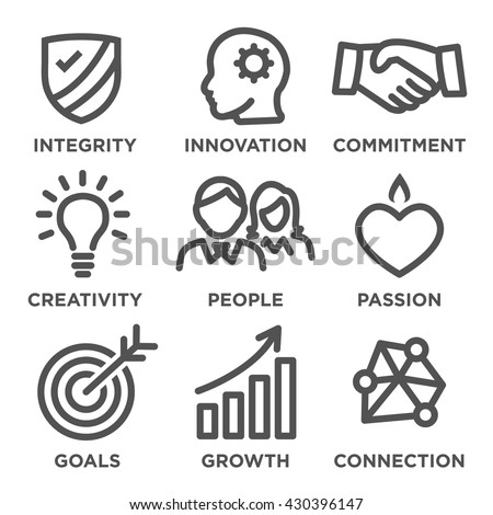 Company Core Values Outline Icons for Websites or Infographics Black and White - stock vector