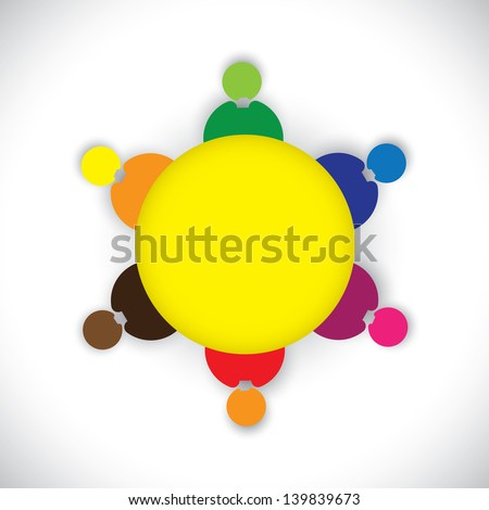 Company employees or staff members together as a team- vector graphic. This colorful  illustration also represents kids playing together, social network, team building, round table meetings,etc - stock vector
