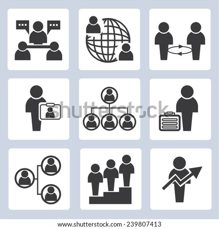 company icons, business management icons set - stock vector