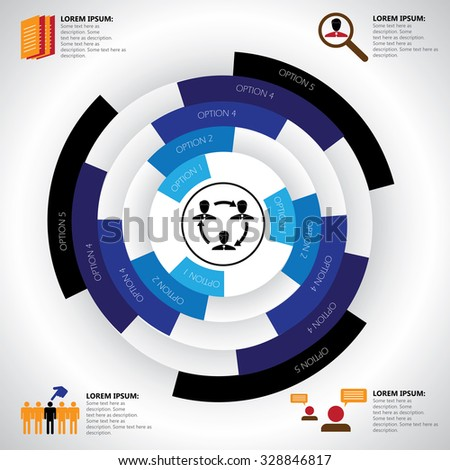 company, manpower, employment & job related infographics vector. This graphic template also represents corporate human resources, employee management, social media, candidate search & selection, etc - stock vector