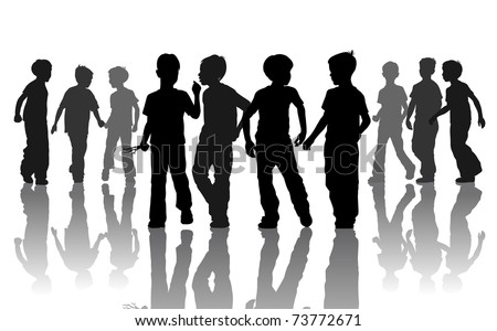 Company of ten young going friends - stock vector