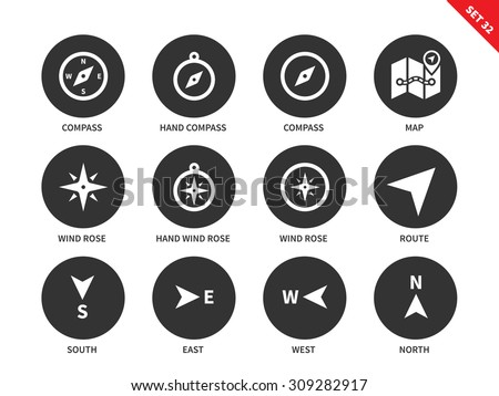Compass and maps vector icons set. Equipment for finding right way. Travelling and direction items, compasses, map, wind roses, south, east, west, north signs. Isolated on white background - stock vector