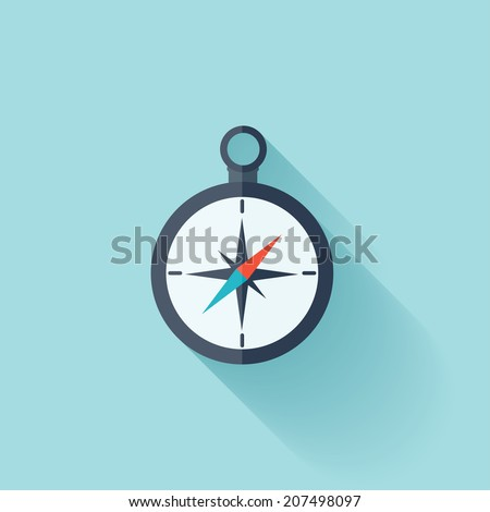 Compass flat icon - stock vector