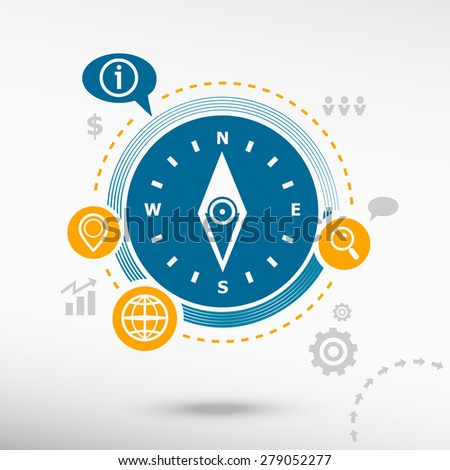 Compass icon and creative design elements. Flat design concept - stock vector