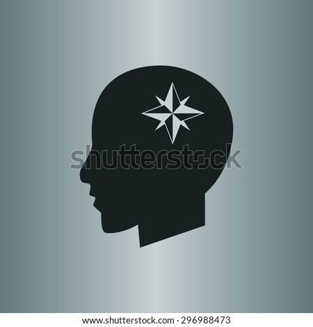 compass icon, Modern man vector illustration. Flat design style - stock vector