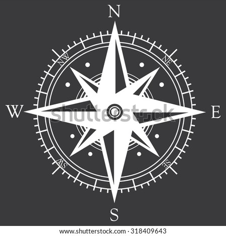 Compass icon rose . Vector illustration - stock vector