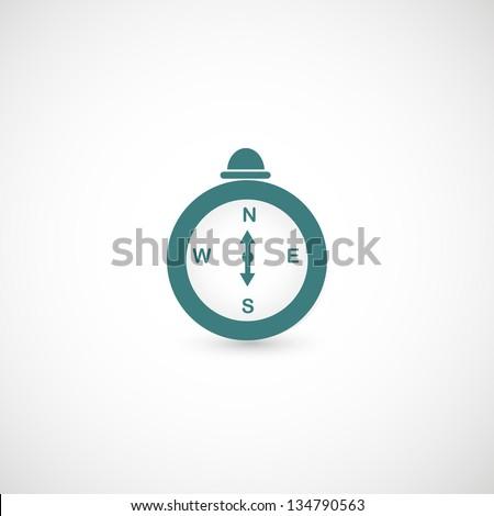 Compass icon vector - stock vector