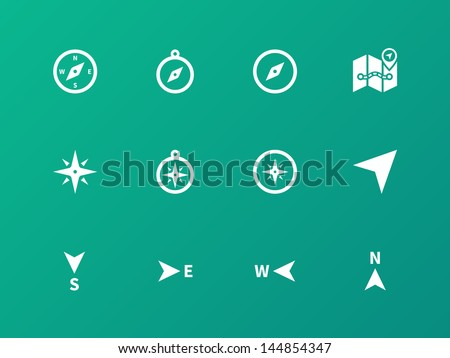 Compass icons on green background. Vector illustration. - stock vector