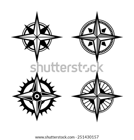 Compass Icons Set on White Background. Vector illustration - stock vector