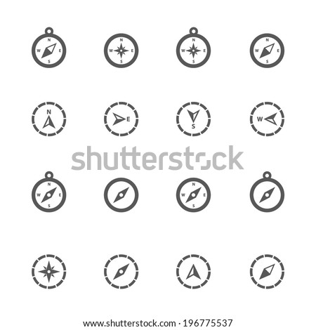Compass icons, vector. - stock vector