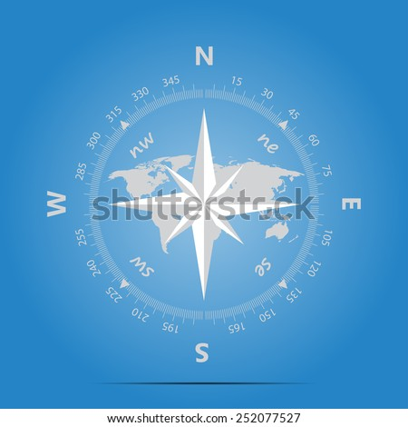 Compass, land on a blue background in marine style vector - stock vector