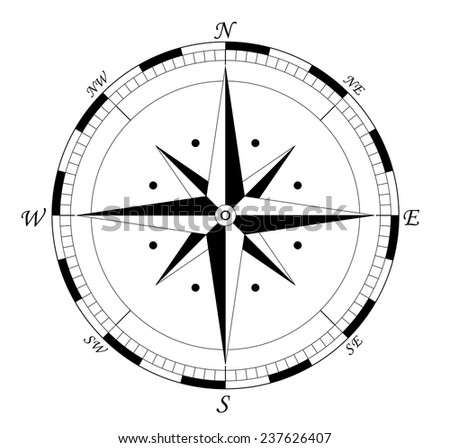 compass, navigation wind rose - vector illustration fully editable, you can change form and color - stock vector