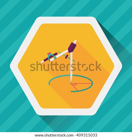 Compass Pencil flat icon with long shadow,eps10 - stock vector