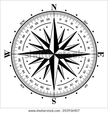 Compass rose isolated on white. Vector illustration. - stock vector