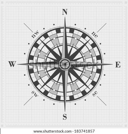 Compass rose over grid. Vector illustration. - stock vector