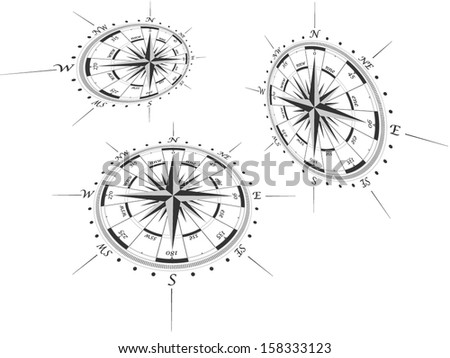 Compass roses in perspective - stock vector