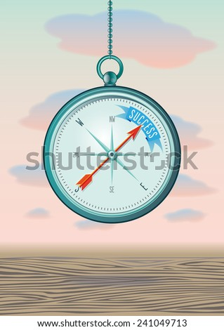compass showing the direction of success in the North - stock vector