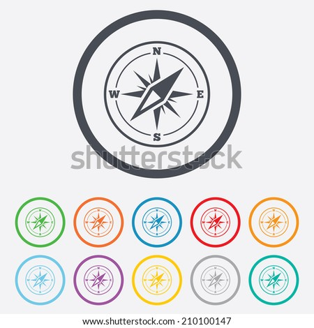 Compass sign icon. Windrose navigation symbol. Round circle buttons with frame. Vector - stock vector